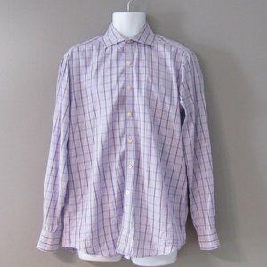 Michael Kors Purple Check Shirt Size 16 34/35
